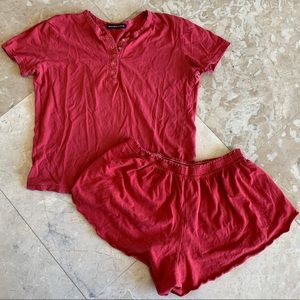 Red Tee and Flowy Shorts Matching Set